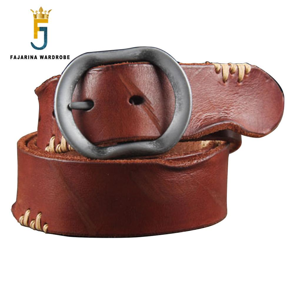 FAJARINA - Genuine Cow Leather Stitched Look Belt