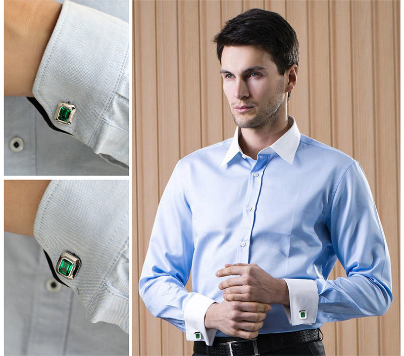 Solid 925 Sterling Silver with Unique Emerald Cut Cufflinks
