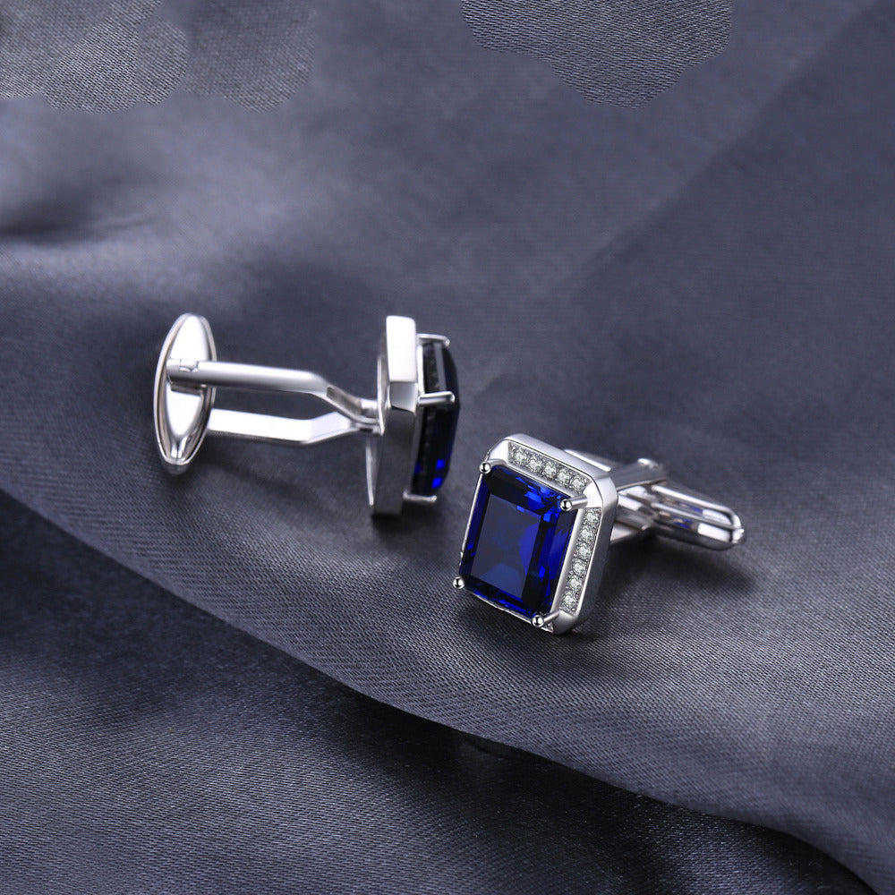 Solid 925 Sterling Silver 8.6ct Sapphire Cufflinks