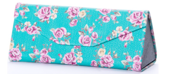 Blue Floral Sunglasses Case
