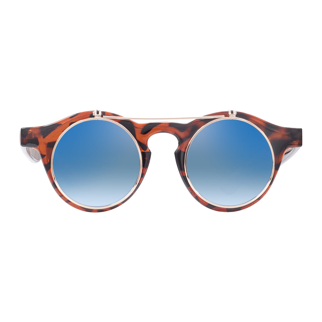 c158773eb5b Robin Ruth Cha Cha Sunglasses with brown frames and blue lenses ...