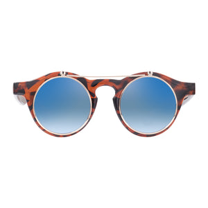 Robin Ruth Cha Cha Sunglasses with brown frames and blue lenses