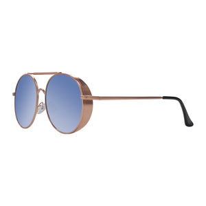 Gold framed blue lens Blies Sunglasses in profile