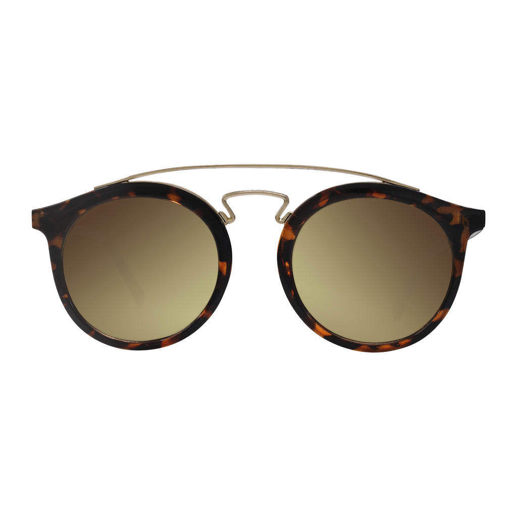 Robin Ruth Kriss Blue framed leopard brown lens sunglasses