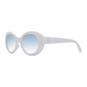 Profile view of Eggshell Savanah Shades with blue lenses