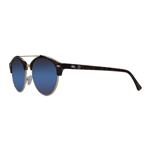 Side view of blue Lanni shades that are sunglasses