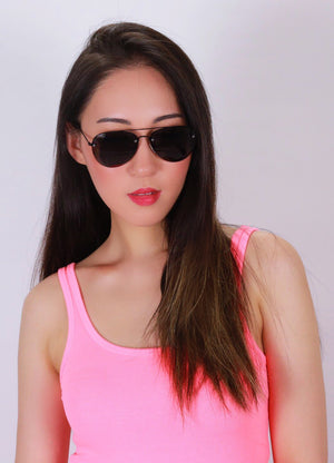 Asian Girl wearing black Asher Sunglasses