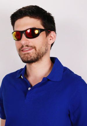 Handsome Blue shirt man wearing Orange Funkastic shades