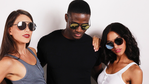 two women and a man all wearing Robin Ruth Blies shades