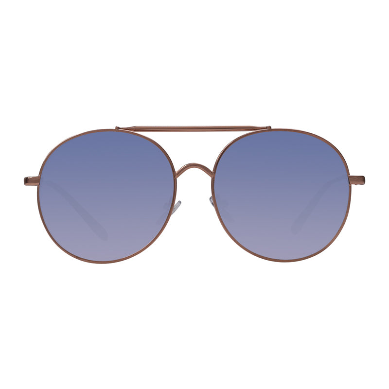Robin Ruth Blies Sunglasses with gold frame and blue lens