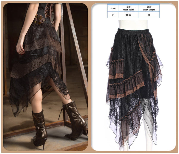 Steampunk Victorian Lace Skirt Gothic Punk Clothing Pirate Renaissance Costume Goth Dress For Women
