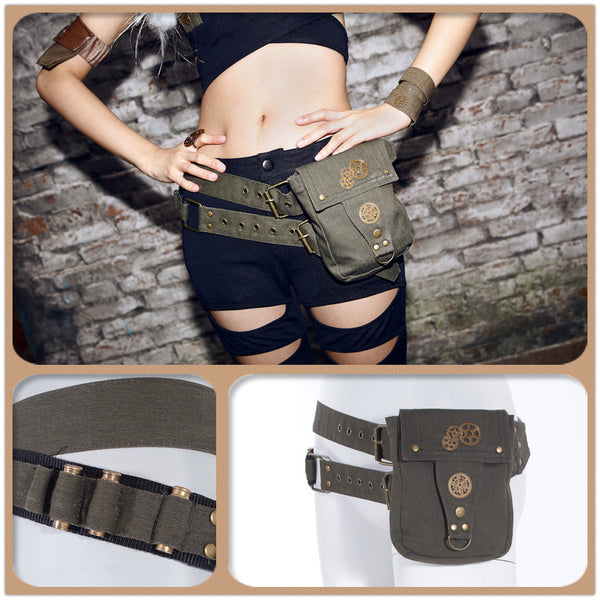 Steampunk Cosplay Backpack School Girls Handbags Messenger Bags Costumes Purses Green
