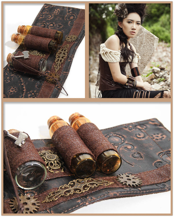 Steampunk Accessories Faux Leather Phial Wristband Costumes For Women Bracelet HaoLin