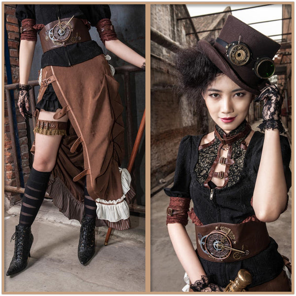 Steampunk Gear Utility Clock Waist Pack Brown Utility Belt Women Accessories
