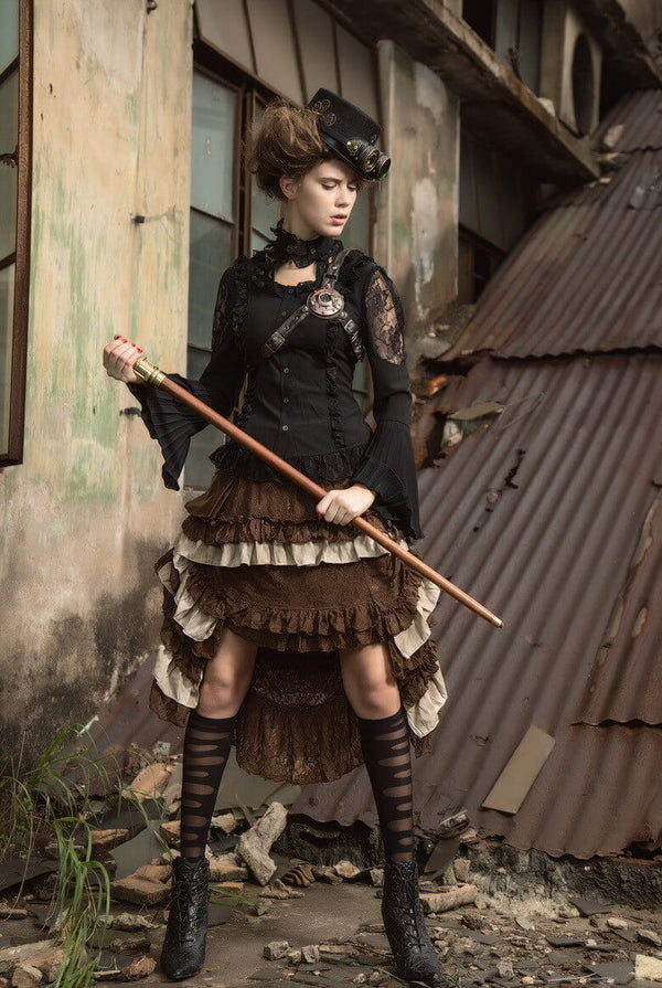 Medieval Skirt Renaissance Womens Dresses Steampunk Skirt Brown Victorian Steampunk Costumes