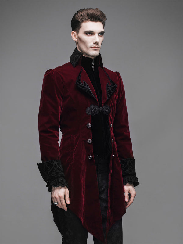 Steampunk Men Jacket Pirate Renaissance Punk Coat Gothic Clothing Red