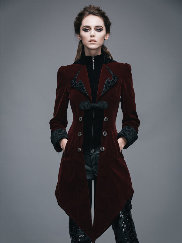 Steampunk Womans Victorian Coat Gothic Clothes Red