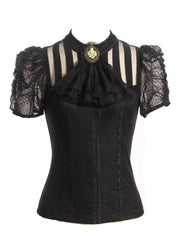 Victorian Black Steampunk Shirt Women Clothing Pirate Renaissance Blouse