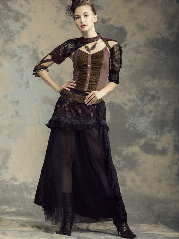 Victorian Steampunk Costumes Pirate Renaissance Womens Dresses Steampunk Skirts For Women