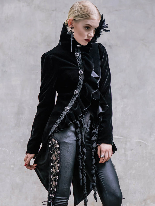 Black Steampunk Womans Victorian Coat Gothic Clothes