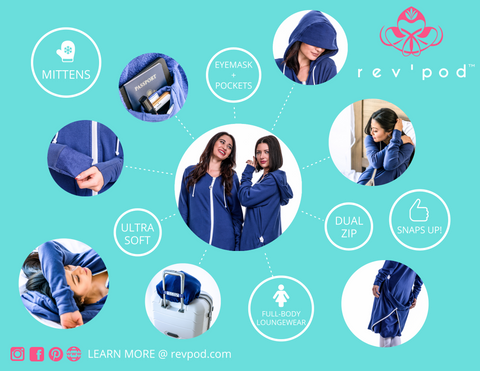 rev'pod™ | ultra-soft travel + loungewear | #revpod | Product Infographic Key Travel Features and Design