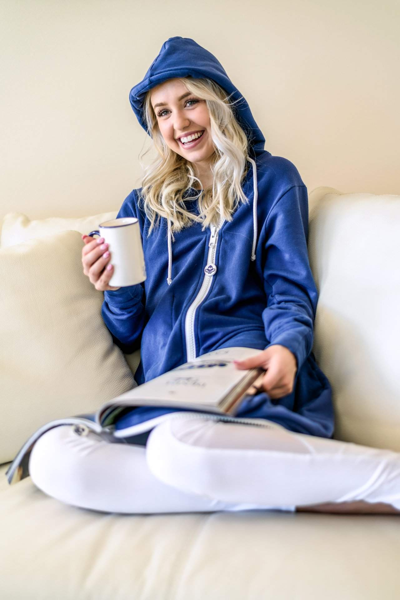 Girl on Comfy Couch with Coffee - rev'pod™ | ultra-soft travel + loungewear | #revpod
