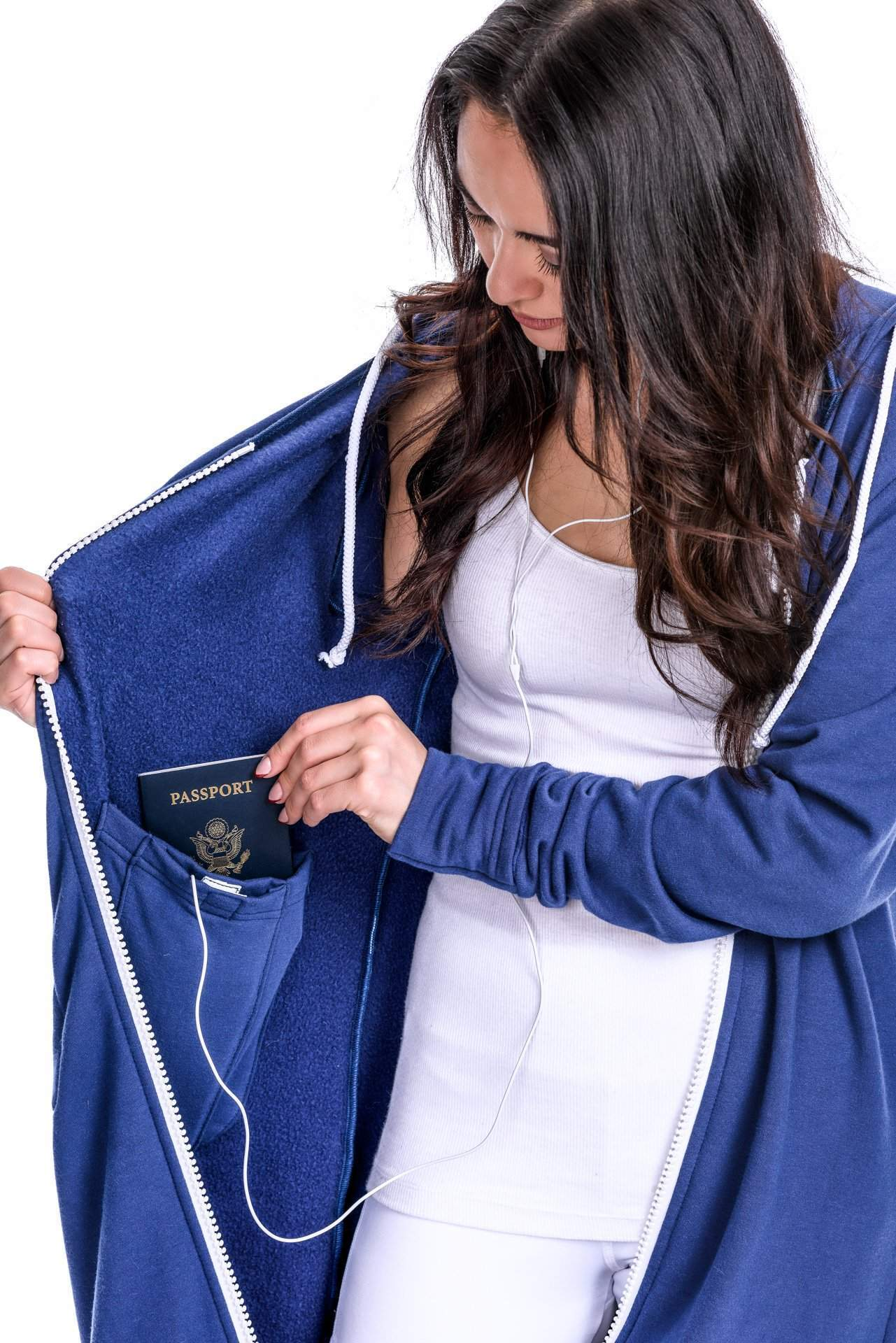 Girl with Passport and Headphones - rev'pod™ | ultra-soft travel + loungewear | #revpod