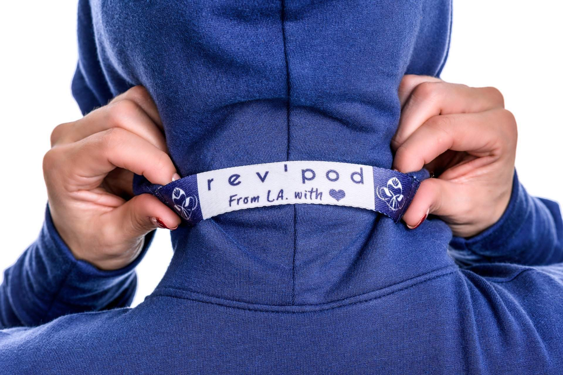 Blue Heart Handle on Hoodie - rev'pod™ | ultra-soft travel + loungewear | #revpod