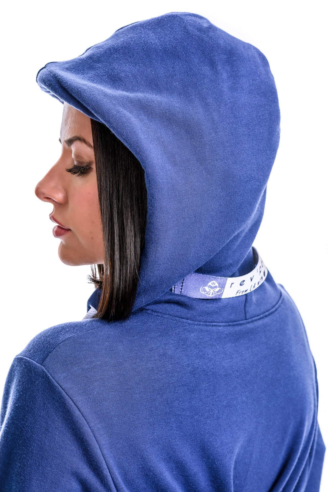 Girl with Hoodie Up - rev'pod™ | ultra-soft travel + loungewear | #revpod
