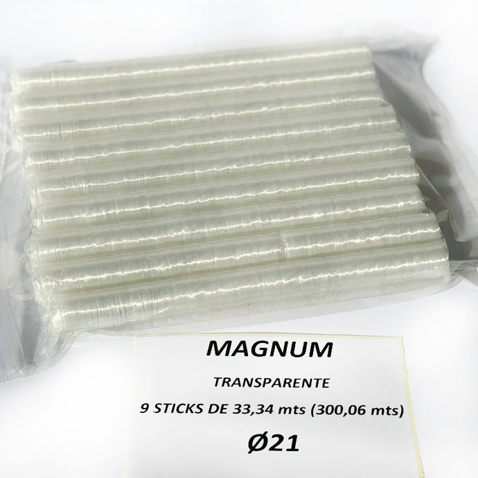 Tripas Magnum Calibre 21, sticks/canutos 33,34 mts transparente