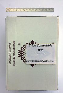 Tripa comestible recta Calibre 36, sticks/canutos 15 mts