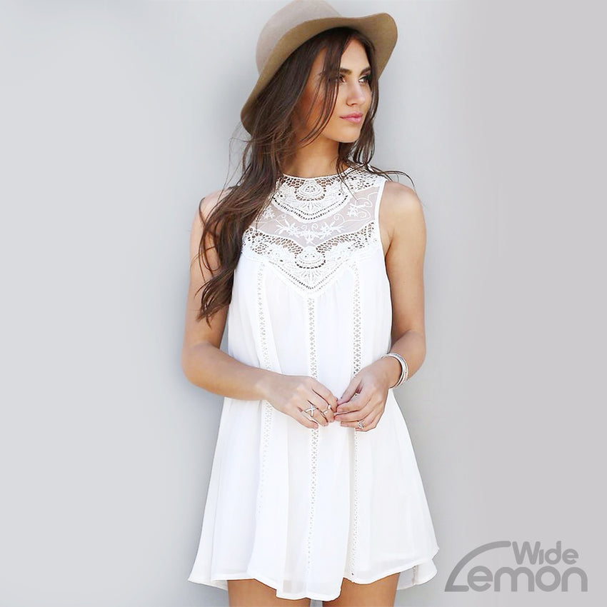 White Short Dress With Suspenders