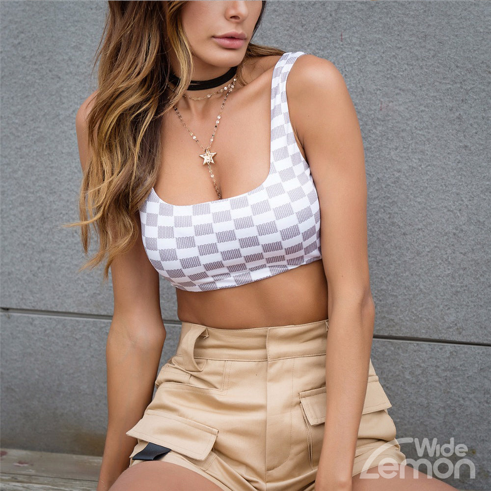 I AM GIA Checkered Crop Top