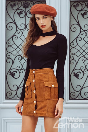 BROWN Pockets Skirt