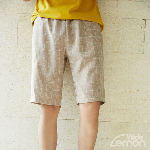 KHAKI Checkered Short Trousers