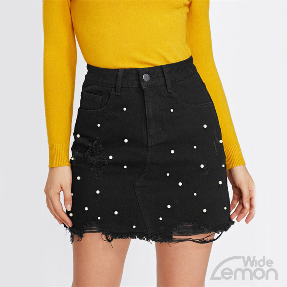 Black Denim Skirt With Pearl Detail