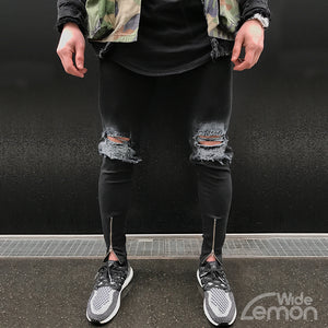 Black 'ZIP' Ripped Skinny Jeans