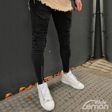 BLACK Ripped Jeans With Side Lines