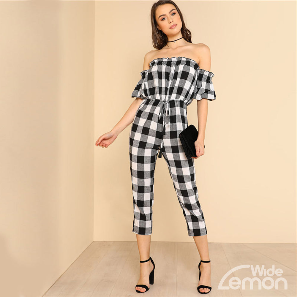 'DOMINO' Checkered Jumpsuit