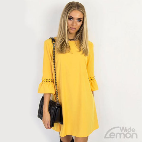Yellow Short Quarter Sleeve Dress