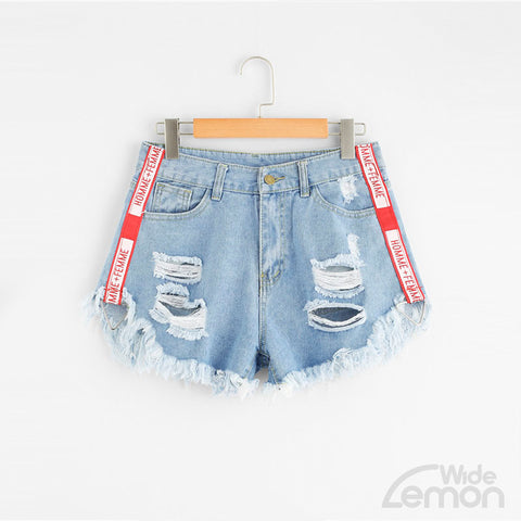 DENIM Red Letter Tape Shorts