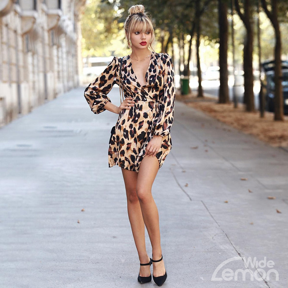 LEOPARD Long Sleeeve Dress
