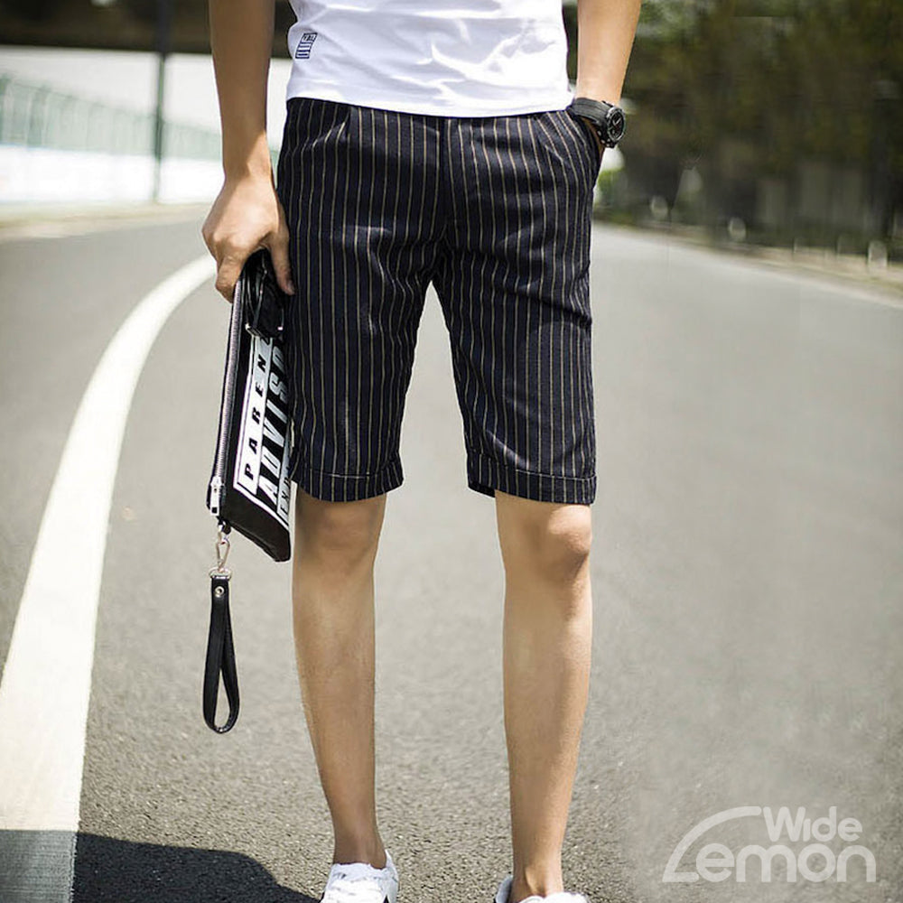 Dark Blue Striped Short Trousers