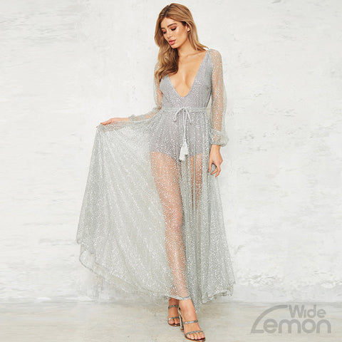 Long V-Neck Mesh Dress