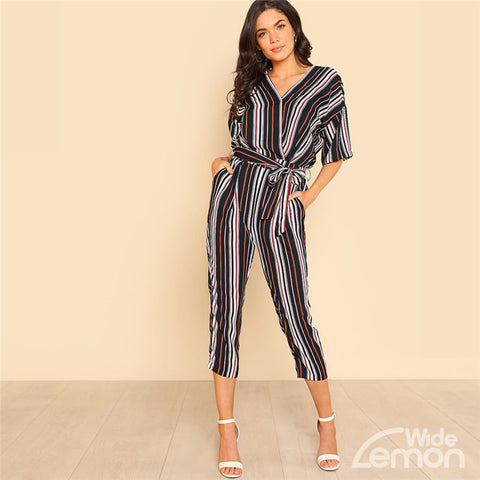Half Sleeve V-Neck Striped Jumpsuit