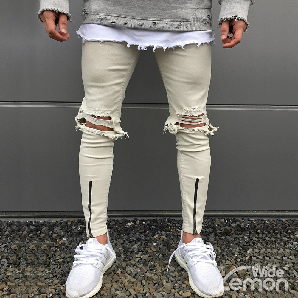 Cream Ripped Skinny Jeans