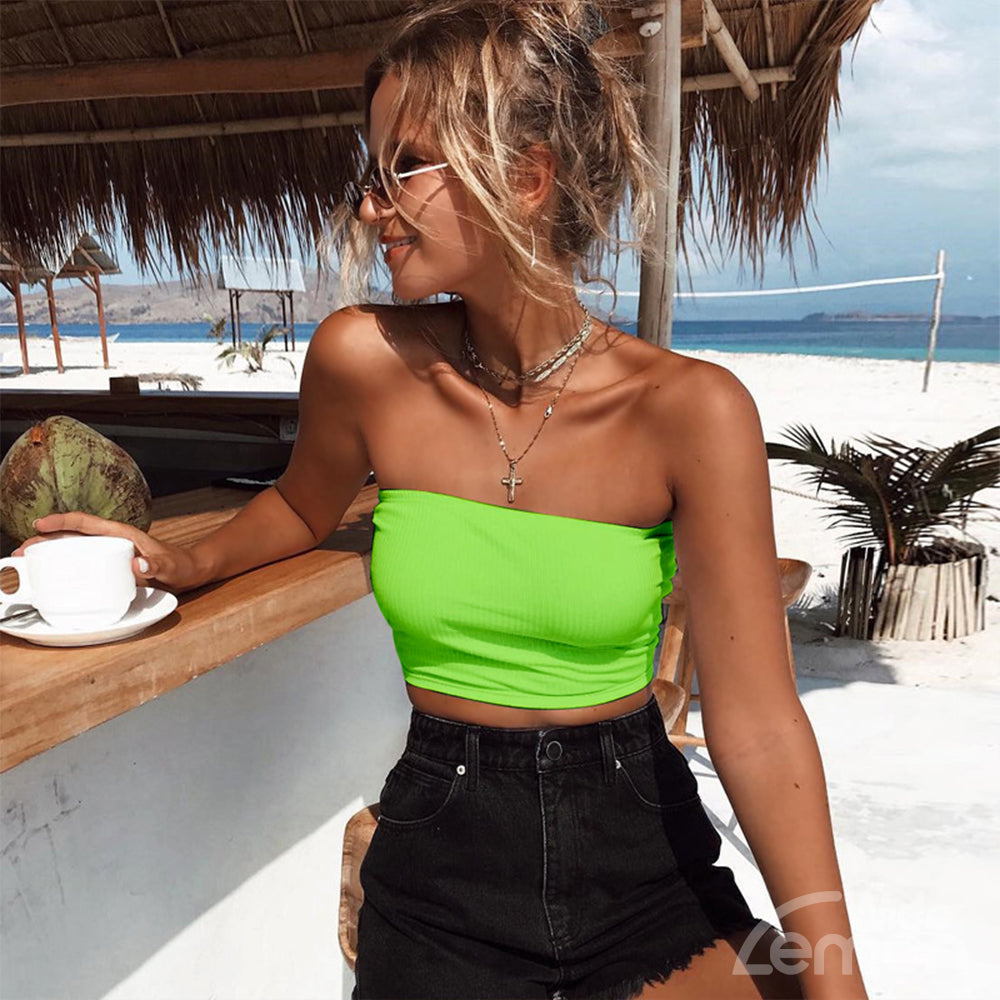 NEON Green Strapless Top