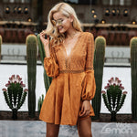 Crochet V-Neck Leather Dress