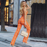 Orange Checked Crop Top & Pant Set