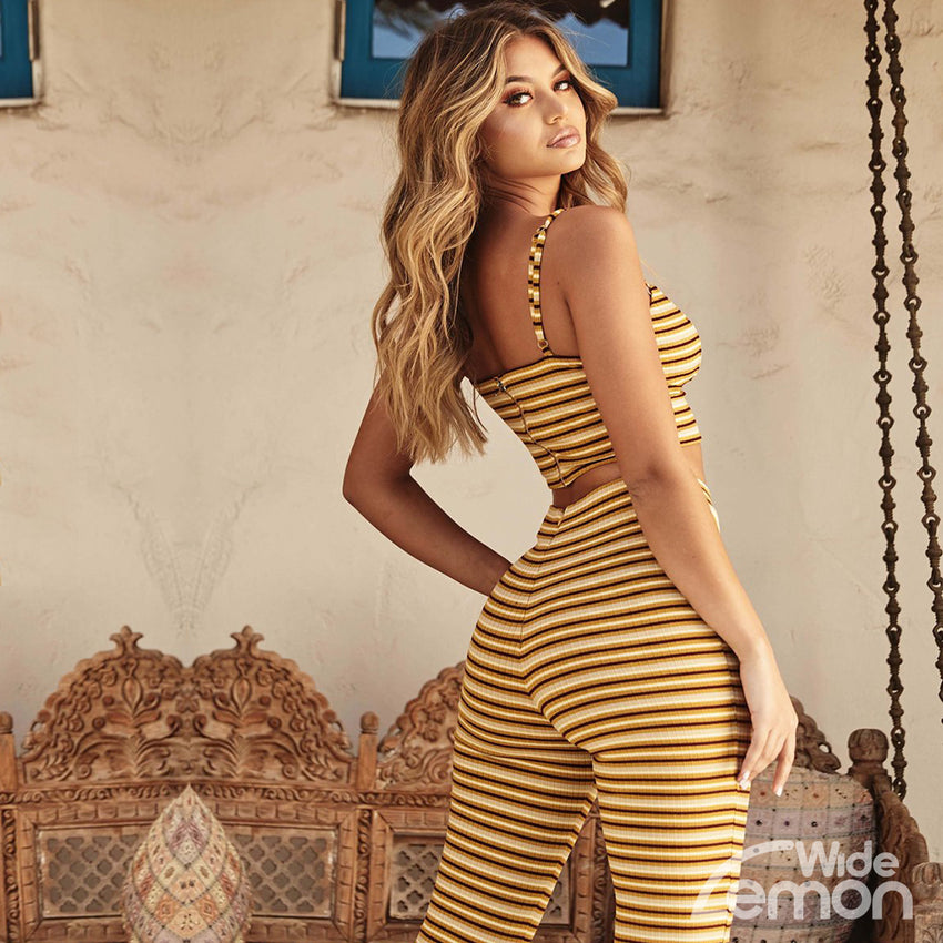 Yellow Stripped Two Piece Set